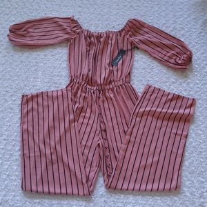 Haute monde Mauve and Black Striped Jumpsuit